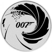 Stříbrná investiční mince James Bond 007 - černý tisk 1 Oz 2022
