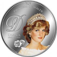 Postříbřená kolorovaná medaile Lady Diana