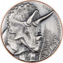 Bimetalová mince Vrcholní dravci - Triceratops 2022 Antique Standard