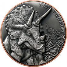 Bimetalová mince Obři světa Dinosaurů - Triceratops 2022 Antique Standard