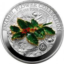 Stříbrná mince 3D Enamel Flower Collection - Cesmína 1 Oz 2021 Proof