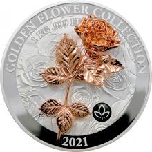 Strieborná minca 1 Kg Golden Flower Collection - zlatá 3D ruža 2021 Proof