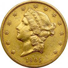 Zlatá minca American Double Eagle Liberty Head 1905