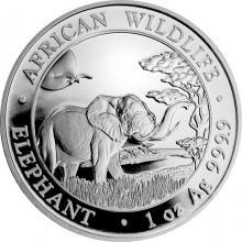 Strieborná investičná minca Slon africký Somálsko 1 Oz 2019