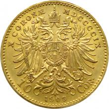 Zlatá mince Desetikoruna Františka Josefa I. Rakouská ražba 1909 Schwartz (velká hlava)