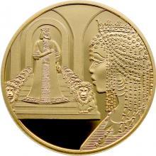 Zlatá mince Král Šalamoun a královna ze Sáby 10 NIS Izrael Biblické umění 2021 Proof