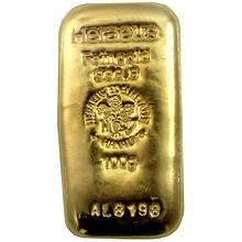100g Heraeus Nemecko Investičná zlatá tehlička liata