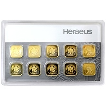 10 x 1g Heraeus Nemecko Multicard Investičné zlaté tehličky