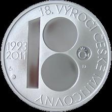 18. výročí ČM a 100. výročí Jablonecké přehrady Stříbrná medaile 2011 Proof