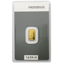 1g Heraeus Německo Investiční zlatý slitek