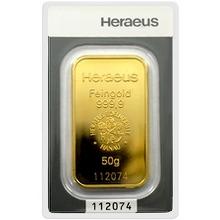 50g Heraeus Nemecko Investičná zlatá tehlička