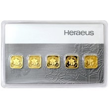 5 x 1g Heraeus Nemecko Multicard Investičná zlatá tehlička