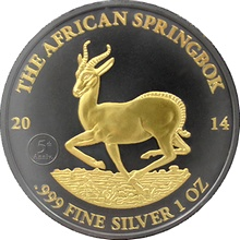 Stříbrná Ruthenium mince pozlacená The African Springbok Golden Enigma 1 Oz Standard