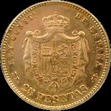 Zlatá mince 25 Pesetas Alfons XII. 1877