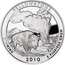 Stříbrná investiční mince America the Beautiful - Wyoming 5 Oz 2010