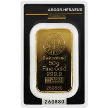 50g Argor Heraeus SA Švýcarsko Investiční zlatý slitek
