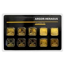 10 x 1g Argor Heraeus SA Švýcarsko Multicard Investičné zlaté tehličky