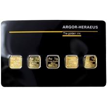 5 x 1g Argor Heraeus SA Švýcarsko Multicard Investiční zlaté slitky