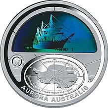 Stříbrná mince Aurora Australis Polární rok 2009 $5