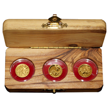 Biblické umění Sada 3 nejmenších zlatých mincí Izrael 2009 - 2011 Proof