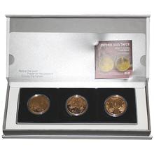 Biblické umenie 10 NIS Sada 3 zlatých mincí Izrael 2010 - 2012 Proof