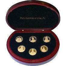 Sada 6 zlatých medailí Čeští svatí 2000 Proof