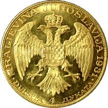 Zlatá minca 4-Dukát Alexandr I. 1931