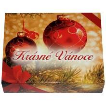 Darčekový obal na drevenú krabičku KRÁSNE VIANOCE na zlaté a strieborné tehličky