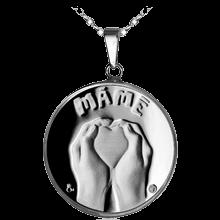 Stříbrný medailonek Den matek 2012 předrytý text Proof
