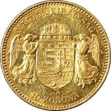 Zlatá minca Desaťkorunáčka Františka Jozefa I. Uhorská razba 1908