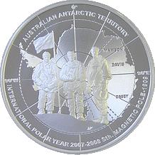 Stříbrná mince Dobyvatelé Antarktidy Polární rok 2009 $5