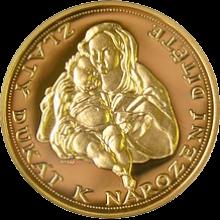 Zlatý dukát k narození dítěte 2008 Proof