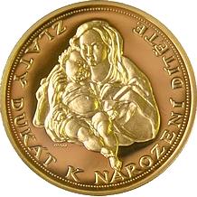 Zlatý dukát k narození dítěte 2010 Proof
