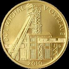 Zlatá minca 2500 Kč Baňa Michal v Ostrave 2010 Štandard