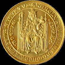 Zlatá minca Karel IV. Dvojdukát Československý 600. výročie úmrtia 1978