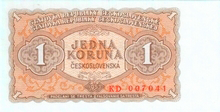 1 Kčs emise 1953 (český tisk)