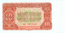 10 Kčs emisia 1953 (český tisk)