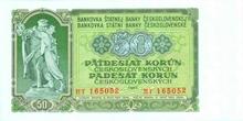 50 Kčs emise 1953 (český tisk)