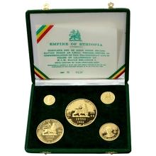 Etiopie Haile Selassie Kompletní sada zlatých mincí 1966 Proof