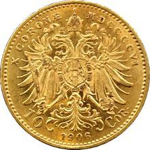 Zlatá mince Desetikoruna Františka Josefa I. Rakouská ražba 1906