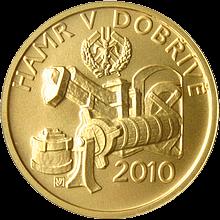 Zlatá minca 2500 Kč Hamr v Dobřívě 2010 Štandard