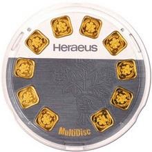 10 x 1g Heraeus Nemecko MultiDisc Investičné zlaté tehličky