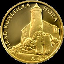 Zlatá čtvrtuncová medaile Hrad Kunětická hora 2012 Proof