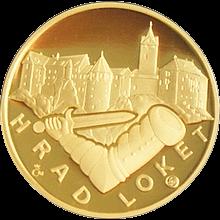 Zlatá čtvrtuncová medaile Hrad Loket 2011 Proof