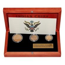 Indian Chief Sada 3 raritních zlatých mincí 1908 Standard