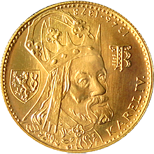 Zlatá minca Karel IV. Jednodukát Československý 600. výročie úmrtia1981