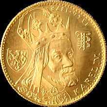 Zlatá minca Karel IV. Jednodukát Československý 600. výročie úmrtia 1982