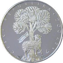 Strieborná minca 200 Kč Založenie Jednoty bratrskej 550. výročie 2007 Štandard