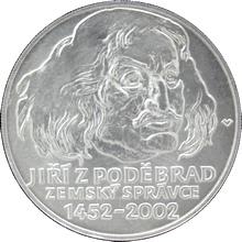 Stříbrná mince 200 Kč Jiří z Poděbrad zemským správcem 550. výročí 2002 Standard