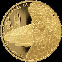 Karlův most Základní kámen 650. Výročí 1 oz Zlatá medaile 2007 Proof